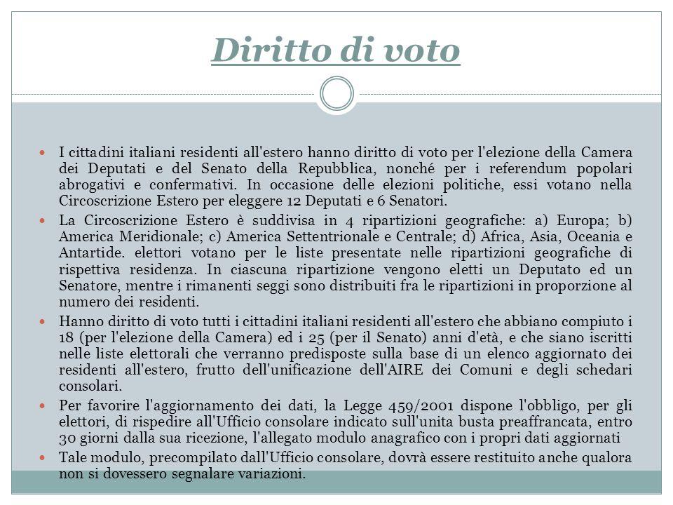Diritto di voto I cittadini italiani residenti all'estero hanno diritto di voto per l'elezione della Camera dei Deputati e del Senato della Repubblica
