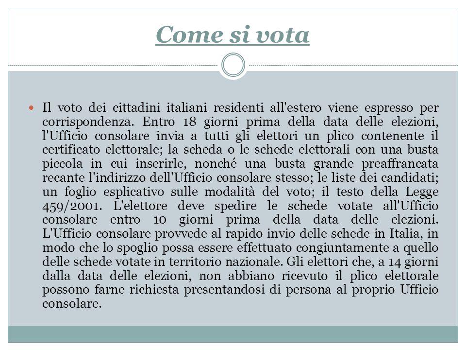 Come si vota Il voto dei cittadini italiani residenti all'estero viene espresso per corrispondenza. Entro 18 giorni prima della data delle elezioni, l