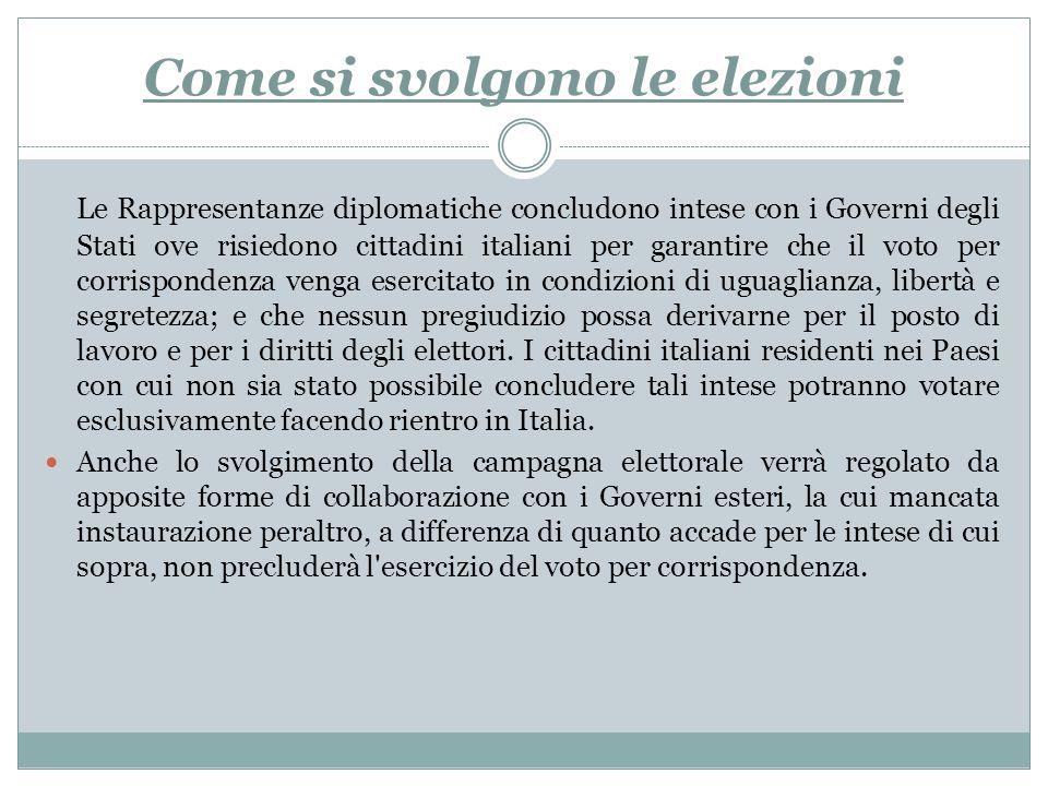 Come si svolgono le elezioni Le Rappresentanze diplomatiche concludono intese con i Governi degli Stati ove risiedono cittadini italiani per garantire