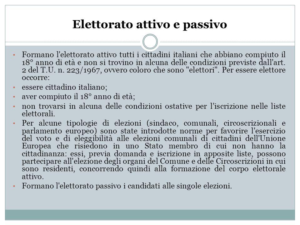 Elettorato attivo e passivo Formano l'elettorato attivo tutti i cittadini italiani che abbiano compiuto il 18° anno di età e non si trovino in alcuna
