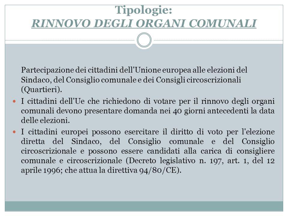 Tipologie: RINNOVO DEGLI ORGANI COMUNALI Partecipazione dei cittadini dell'Unione europea alle elezioni del Sindaco, del Consiglio comunale e dei Cons