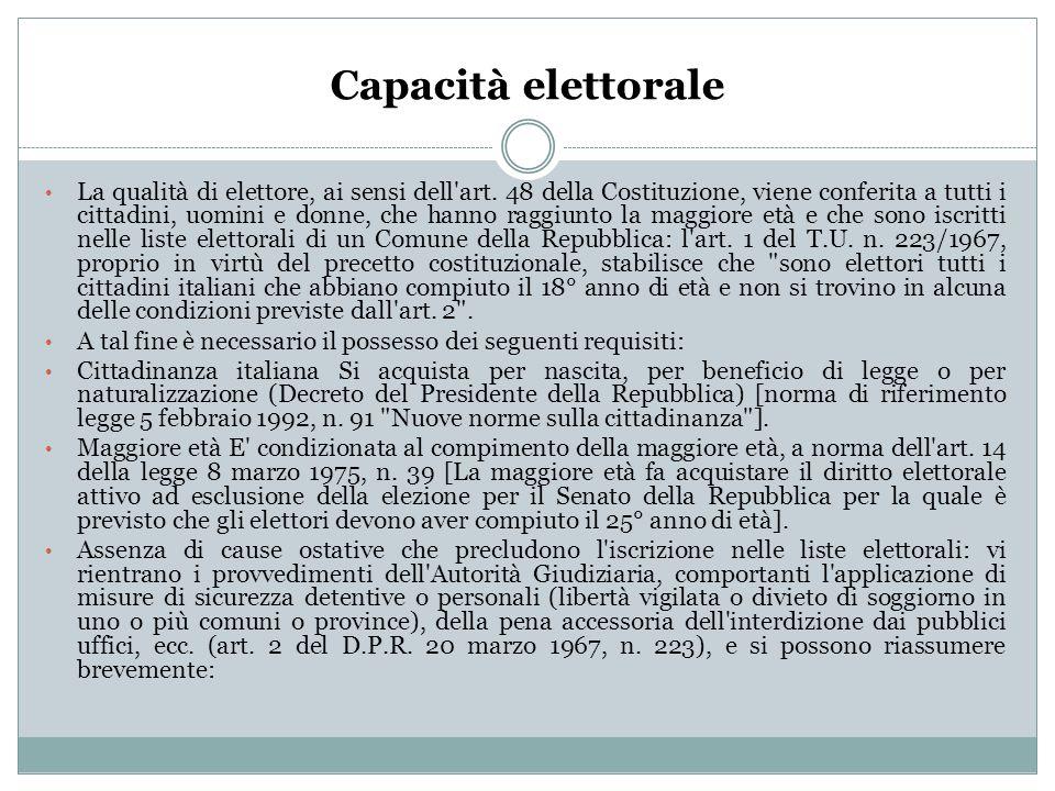 Capacità elettorale La qualità di elettore, ai sensi dell'art. 48 della Costituzione, viene conferita a tutti i cittadini, uomini e donne, che hanno r