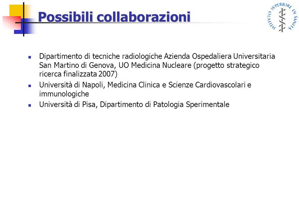 Possibili collaborazioni Dipartimento di tecniche radiologiche Azienda Ospedaliera Universitaria San Martino di Genova, UO Medicina Nucleare (progetto