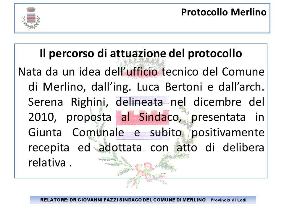 Protocollo Merlino RELATORE: DR GIOVANNI FAZZI SINDACO DEL COMUNE DI MERLINO Provincia di Lodi Il percorso di attuazione del protocollo Nata da un ide