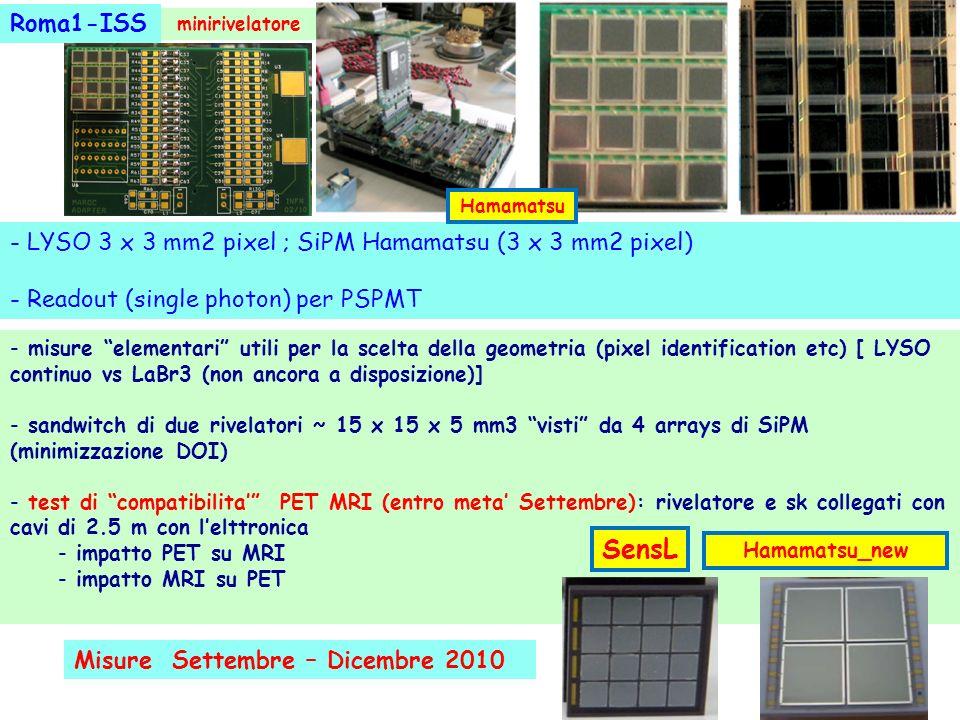 - misure elementari utili per la scelta della geometria (pixel identification etc) [ LYSO continuo vs LaBr3 (non ancora a disposizione)] - sandwitch d