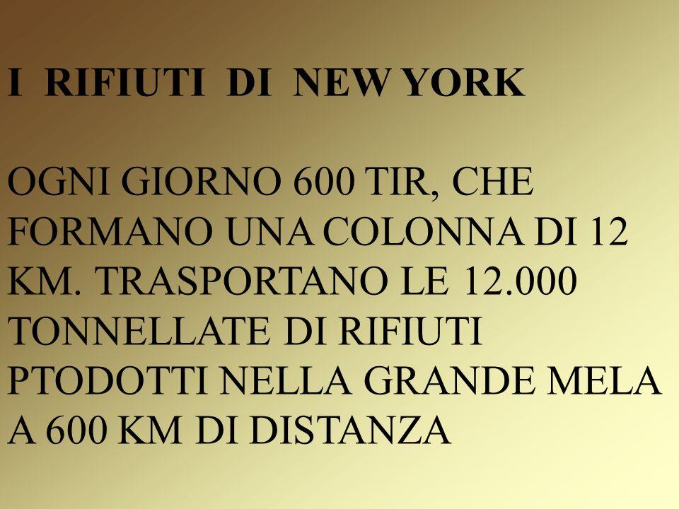 I RIFIUTI DI NEW YORK OGNI GIORNO 600 TIR, CHE FORMANO UNA COLONNA DI 12 KM.