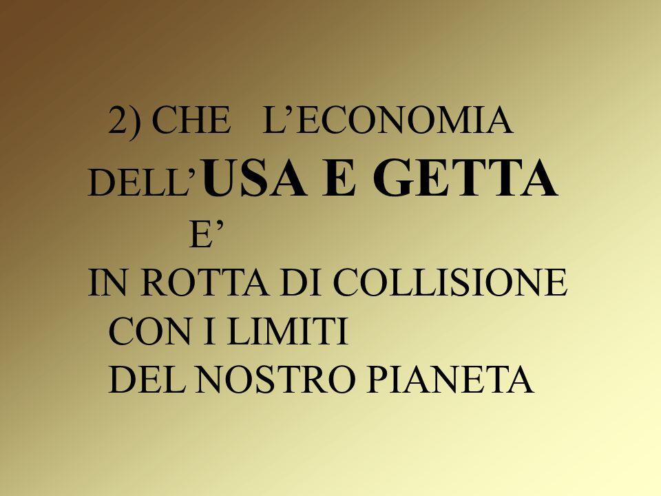 2) CHE LECONOMIA DELL USA E GETTA E IN ROTTA DI COLLISIONE CON I LIMITI DEL NOSTRO PIANETA