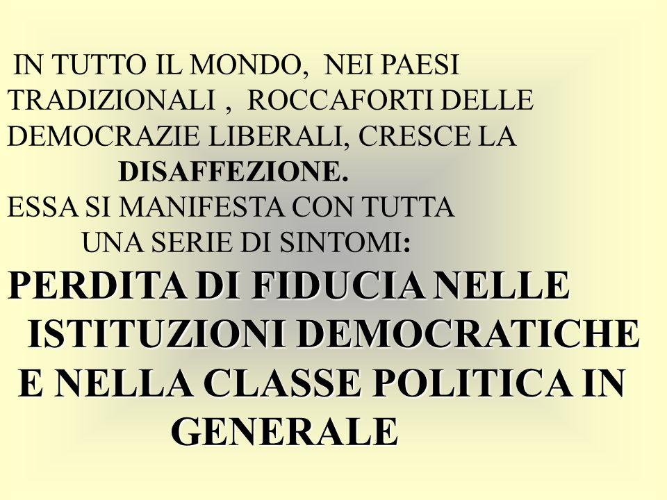PERDITA DI FIDUCIA NELLE ISTITUZIONI DEMOCRATICHE E NELLA CLASSE POLITICA IN GENERALE IN TUTTO IL MONDO, NEI PAESI TRADIZIONALI, ROCCAFORTI DELLE DEMOCRAZIE LIBERALI, CRESCE LA DISAFFEZIONE.