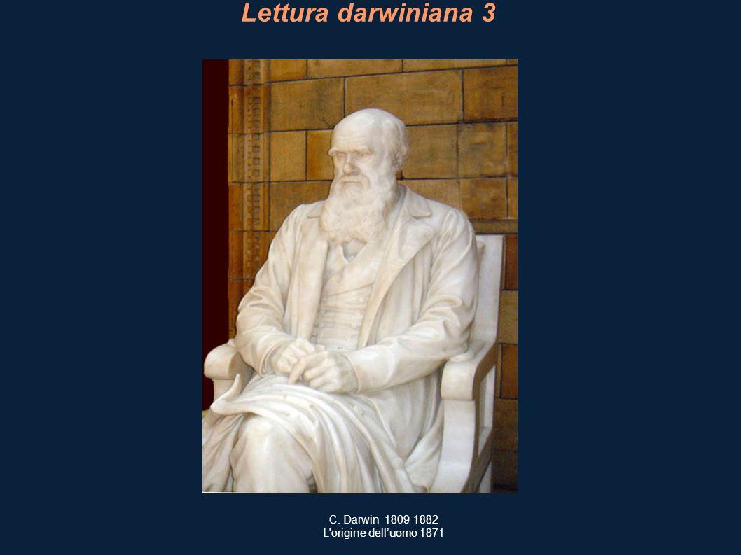 Lettura darwiniana 3 C. Darwin 1809-1882 L'origine delluomo 1871
