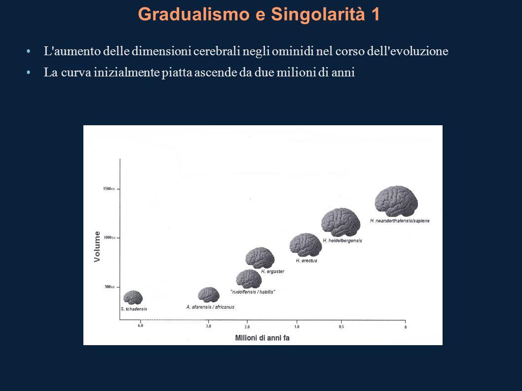 Gradualismo e Singolarità 1 L'aumento delle dimensioni cerebrali negli ominidi nel corso dell'evoluzione La curva inizialmente piatta ascende da due m