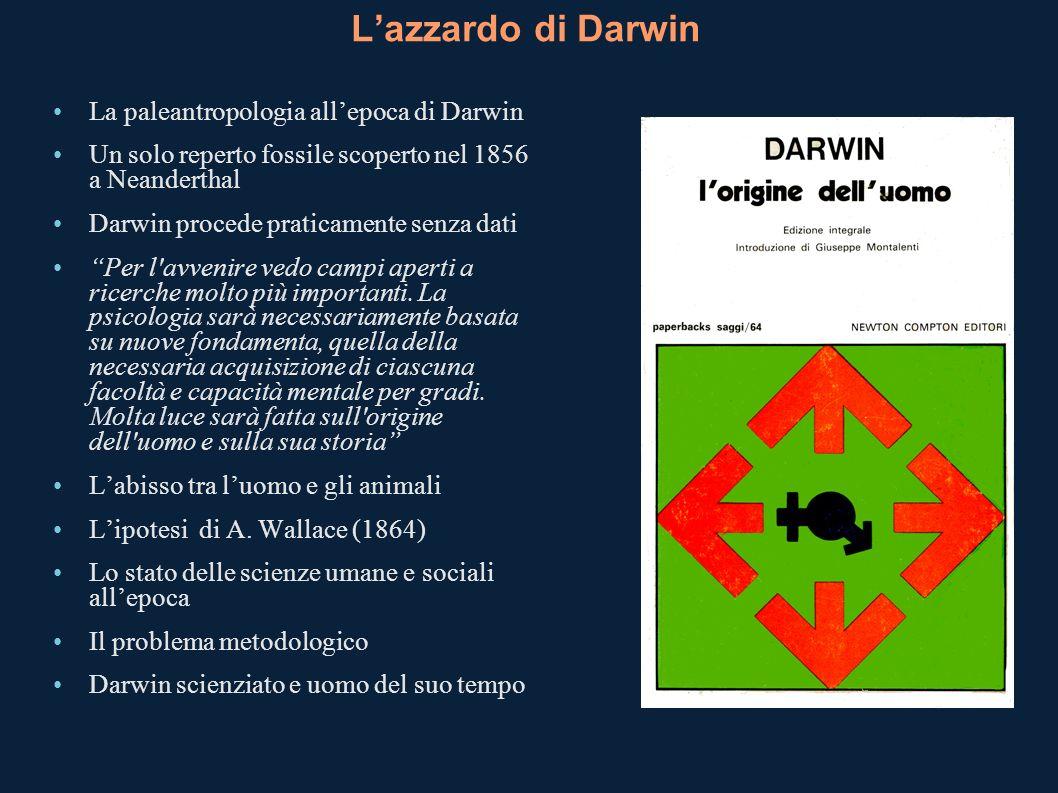 Lazzardo di Darwin La paleantropologia allepoca di Darwin Un solo reperto fossile scoperto nel 1856 a Neanderthal Darwin procede praticamente senza da