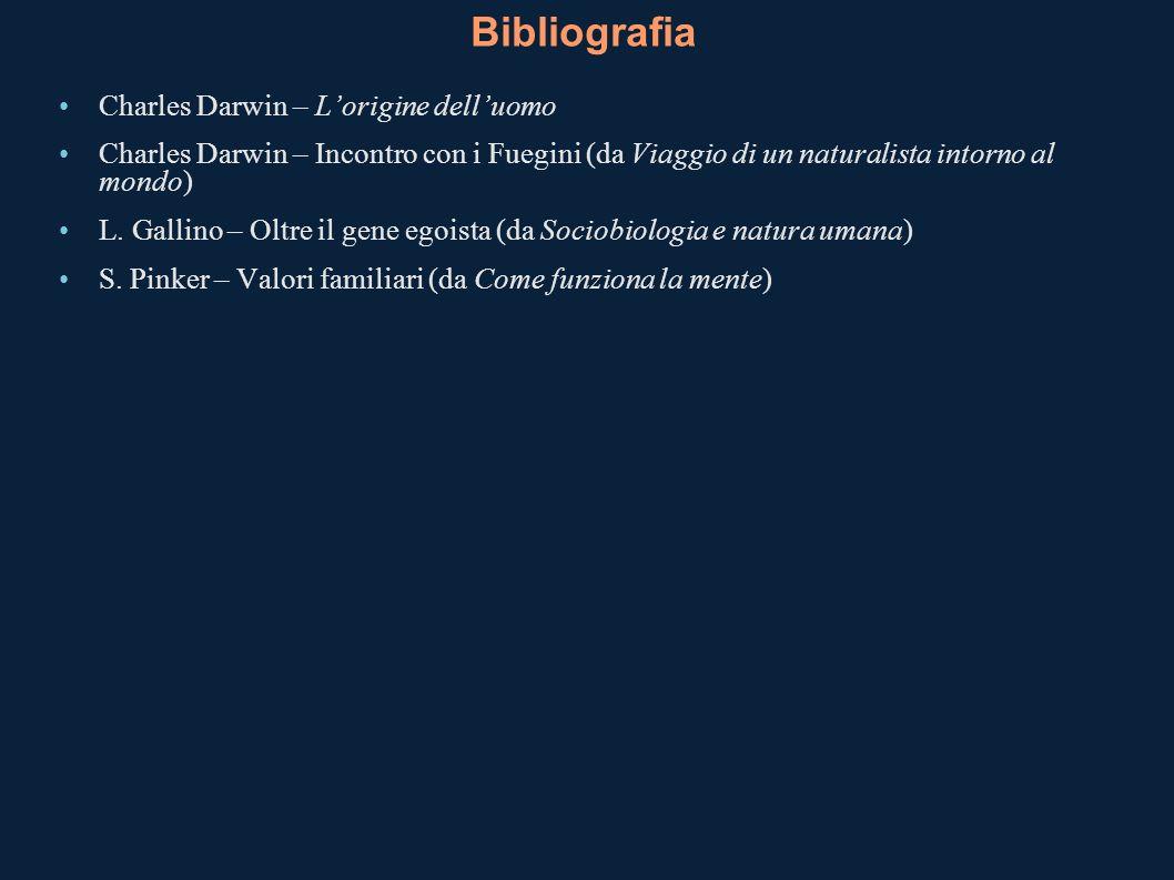 Bibliografia Charles Darwin – Lorigine delluomo Charles Darwin – Incontro con i Fuegini (da Viaggio di un naturalista intorno al mondo) L. Gallino – O