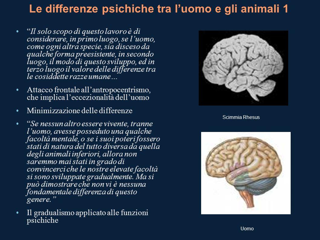 Le differenze psichiche tra luomo e gli animali 1 Il solo scopo di questo lavoro è di considerare, in primo luogo, se luomo, come ogni altra specie, s