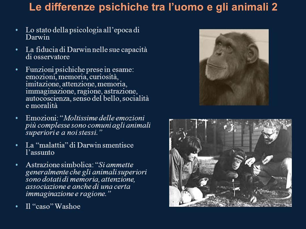 Le differenze psichiche tra luomo e gli animali 2 Lo stato della psicologia allepoca di Darwin La fiducia di Darwin nelle sue capacità di osservatore