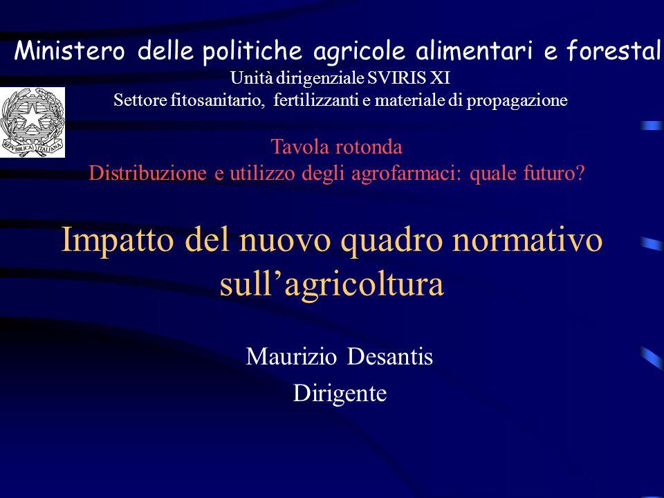 Impatto del nuovo quadro normativo sullagricoltura Maurizio Desantis Dirigente Ministero delle politiche agricole alimentari e forestali Unità dirigen