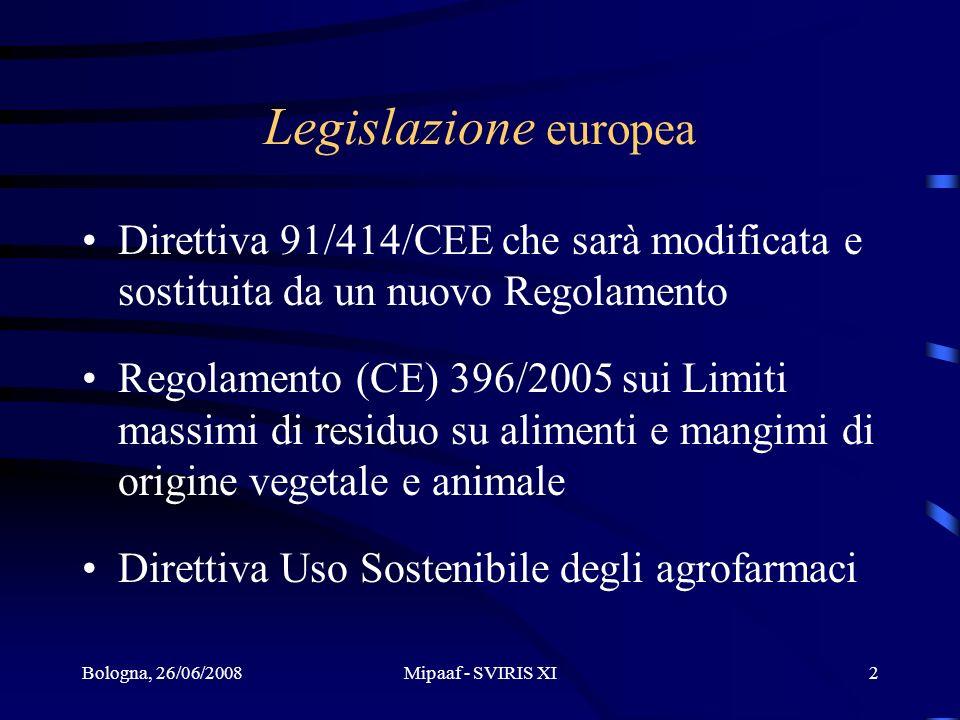 Bologna, 26/06/2008Mipaaf - SVIRIS XI2 Legislazione europea Direttiva 91/414/CEE che sarà modificata e sostituita da un nuovo Regolamento Regolamento