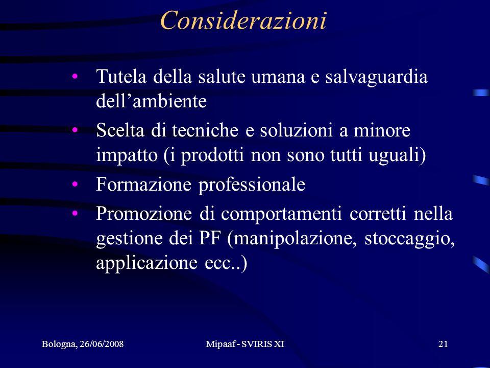 Bologna, 26/06/2008Mipaaf - SVIRIS XI21 Considerazioni Tutela della salute umana e salvaguardia dellambiente Scelta di tecniche e soluzioni a minore i