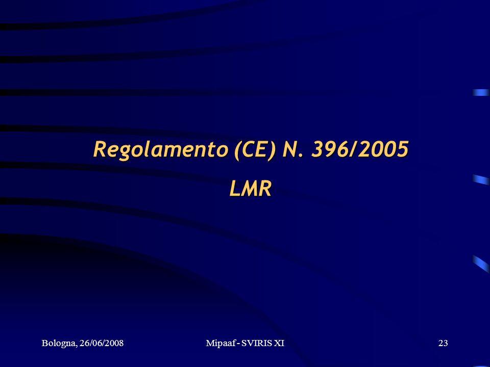 Bologna, 26/06/2008Mipaaf - SVIRIS XI23 Regolamento (CE) N. 396/2005 LMR