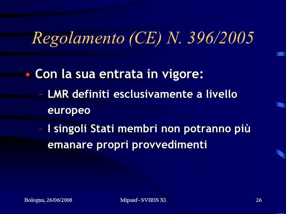 Bologna, 26/06/2008Mipaaf - SVIRIS XI26 Regolamento (CE) N. 396/2005 Con la sua entrata in vigore:Con la sua entrata in vigore: –LMR definiti esclusiv