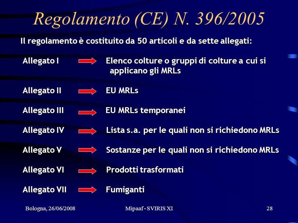 Bologna, 26/06/2008Mipaaf - SVIRIS XI28 Il regolamento è costituito da 50 articoli e da sette allegati: Allegato I Elenco colture o gruppi di colture