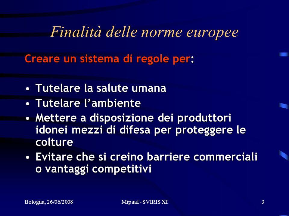Bologna, 26/06/2008Mipaaf - SVIRIS XI3 Finalità delle norme europee Creare un sistema di regole per: Tutelare la salute umanaTutelare la salute umana