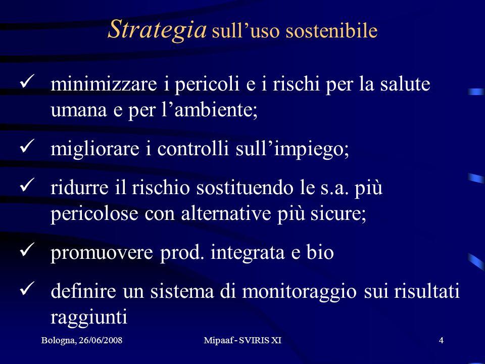 Bologna, 26/06/2008Mipaaf - SVIRIS XI4 Strategia sulluso sostenibile minimizzare i pericoli e i rischi per la salute umana e per lambiente; migliorare