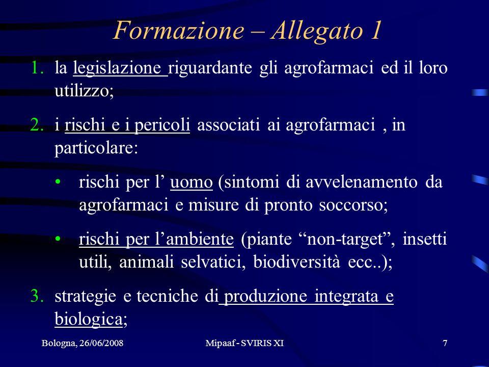 Bologna, 26/06/2008Mipaaf - SVIRIS XI7 1.la legislazione riguardante gli agrofarmaci ed il loro utilizzo; 2.i rischi e i pericoli associati ai agrofar