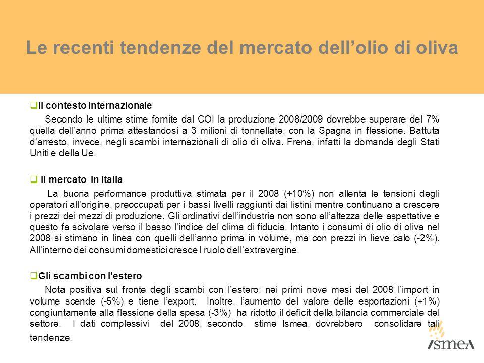 Le recenti tendenze del mercato dellolio di oliva Il contesto internazionale Secondo le ultime stime fornite dal COI la produzione 2008/2009 dovrebbe