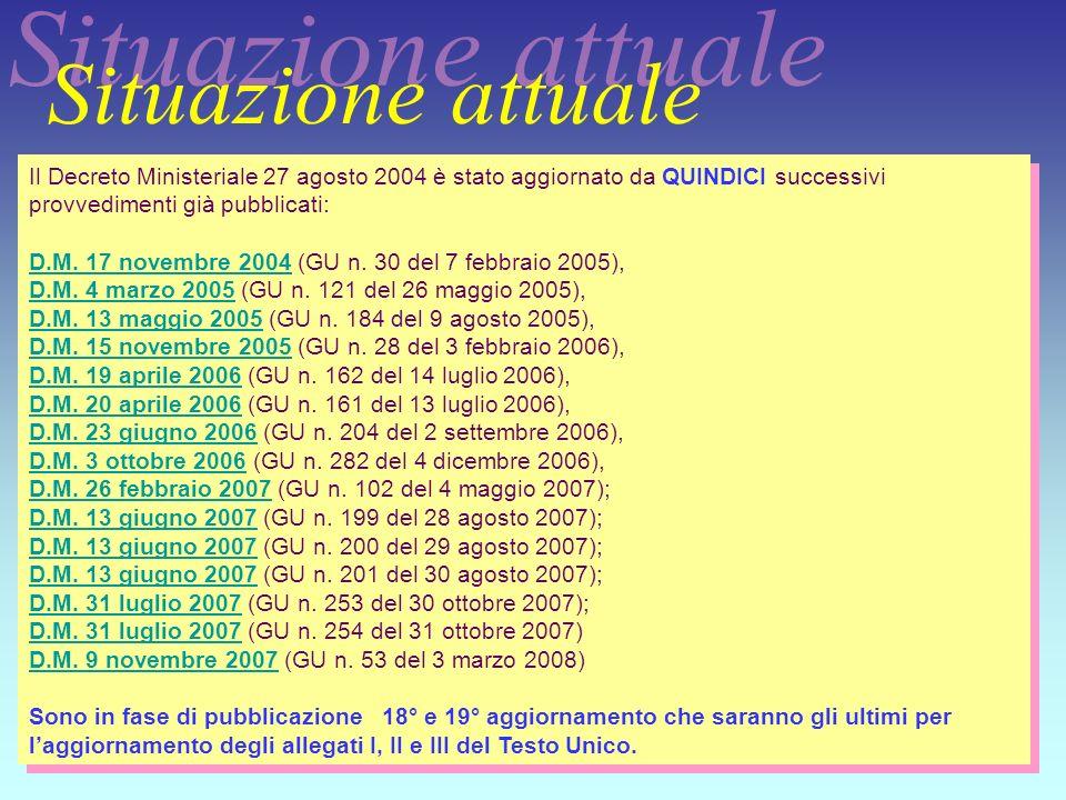 18 Il Decreto Ministeriale 27 agosto 2004 è stato aggiornato da QUINDICI successivi provvedimenti già pubblicati: D.M. 17 novembre 2004 (GU n. 30 del