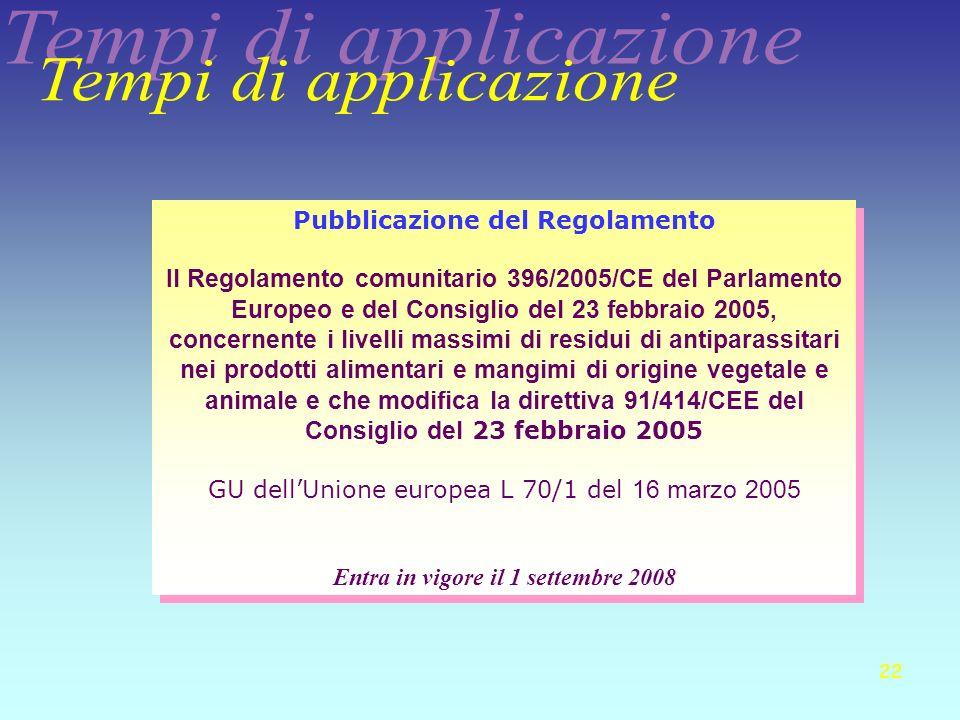 22 Pubblicazione del Regolamento Il Regolamento comunitario 396/2005/CE del Parlamento Europeo e del Consiglio del 23 febbraio 2005, concernente i liv