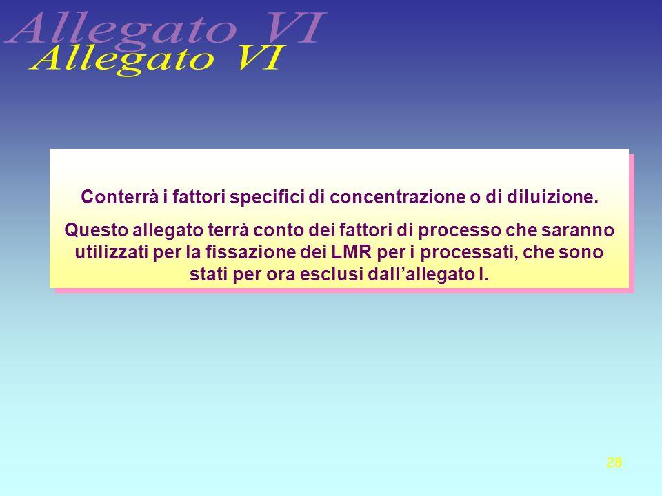 28 Conterrà i fattori specifici di concentrazione o di diluizione. Questo allegato terrà conto dei fattori di processo che saranno utilizzati per la f