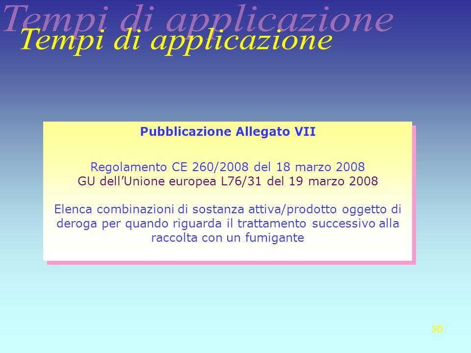 30 Pubblicazione Allegato VII Regolamento CE 260/2008 del 18 marzo 2008 GU dellUnione europea L76/31 del 19 marzo 2008 Elenca combinazioni di sostanza