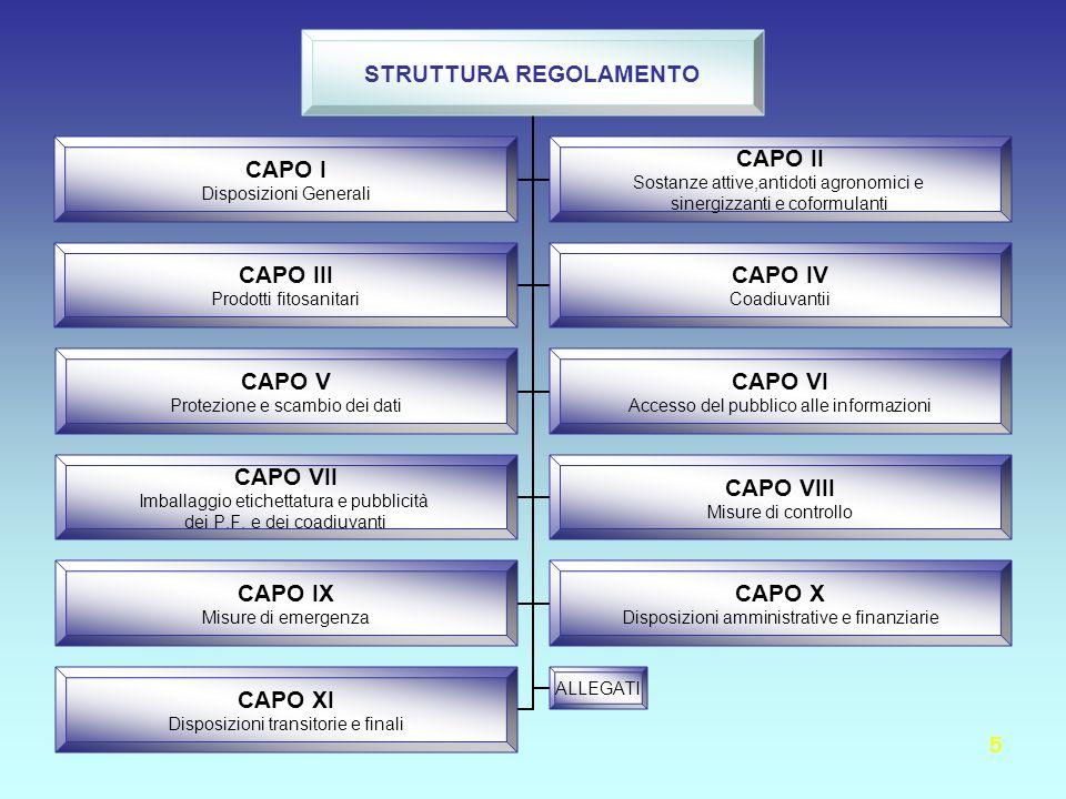 5 STRUTTURA REGOLAMENTO CAPO I Disposizioni Generali CAPO II Sostanze attive,antidoti agronomici e sinergizzanti e coformulanti CAPO III Prodotti fito
