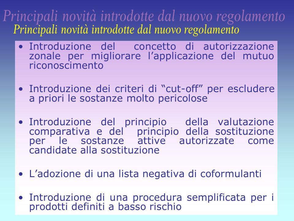7 Introduzione del concetto di autorizzazione zonale per migliorare lapplicazione del mutuo riconoscimento Introduzione dei criteri di cut-off per esc