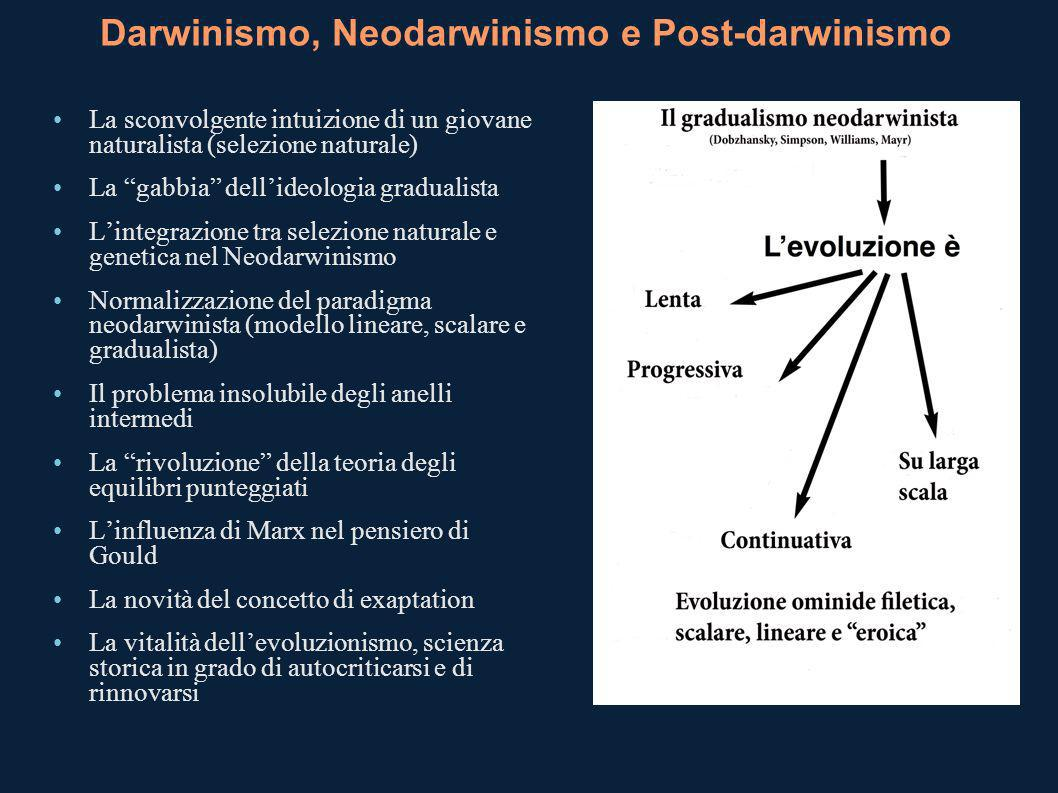 Darwinismo, Neodarwinismo e Post-darwinismo La sconvolgente intuizione di un giovane naturalista (selezione naturale) La gabbia dellideologia graduali