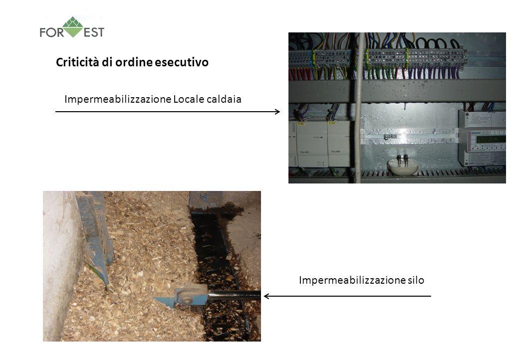 Criticità di ordine esecutivo Impermeabilizzazione silo Impermeabilizzazione Locale caldaia