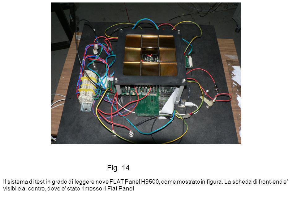 Fig. 14 Il sistema di test in grado di leggere nove FLAT Panel H9500, come mostrato in figura. La scheda di front-end e visibile al centro, dove e sta