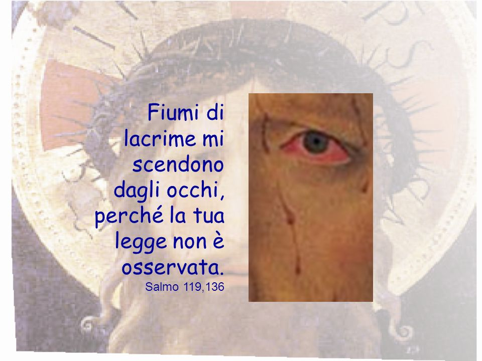 Fiumi di lacrime mi scendono dagli occhi, perché la tua legge non è osservata. Salmo 119,136