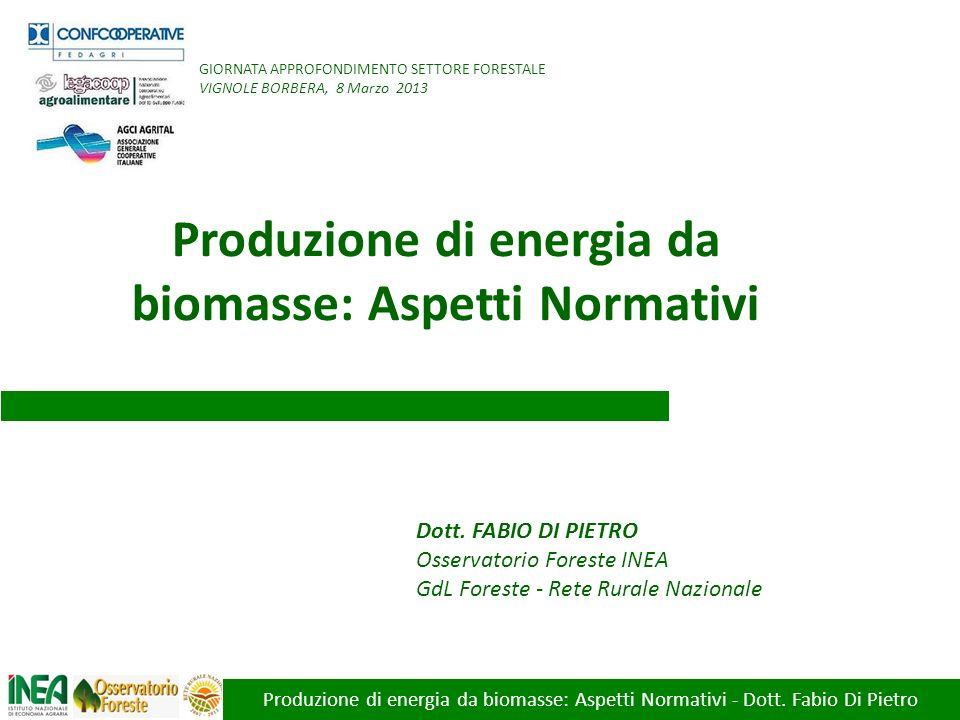 Produzione di energia da biomasse: Aspetti Normativi - Dott. Fabio Di Pietro Dott. FABIO DI PIETRO Osservatorio Foreste INEA GdL Foreste - Rete Rurale