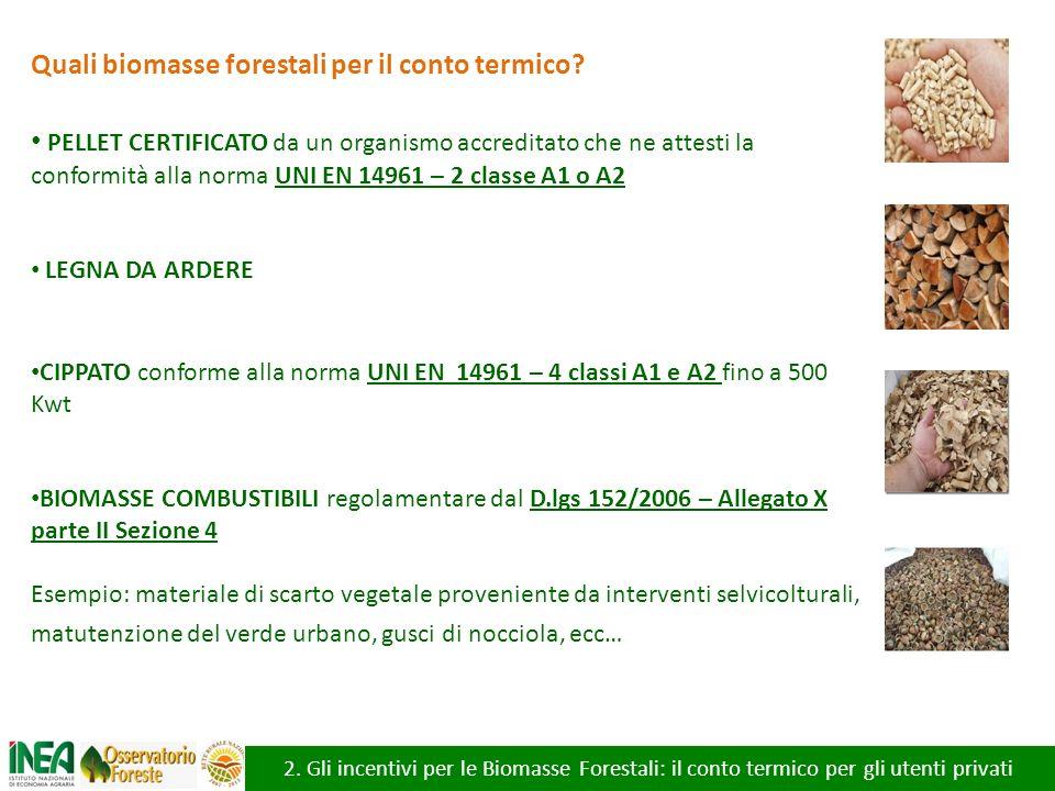 2. Gli incentivi per le Biomasse Forestali: il conto termico per gli utenti privati Quali biomasse forestali per il conto termico? PELLET CERTIFICATO