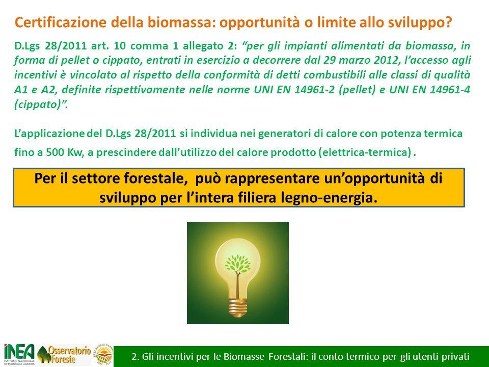 2. Gli incentivi per le Biomasse Forestali: il conto termico per gli utenti privati Certificazione della biomassa: opportunità o limite allo sviluppo?