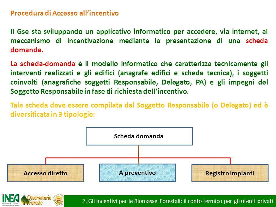 2. Gli incentivi per le Biomasse Forestali: il conto termico per gli utenti privati Procedura di Accesso allincentivo Il Gse sta sviluppando un applic