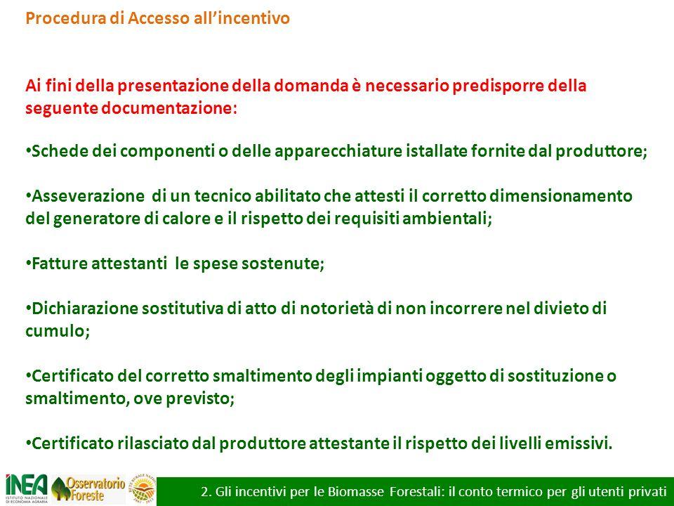 2. Gli incentivi per le Biomasse Forestali: il conto termico per gli utenti privati Procedura di Accesso allincentivo Ai fini della presentazione dell