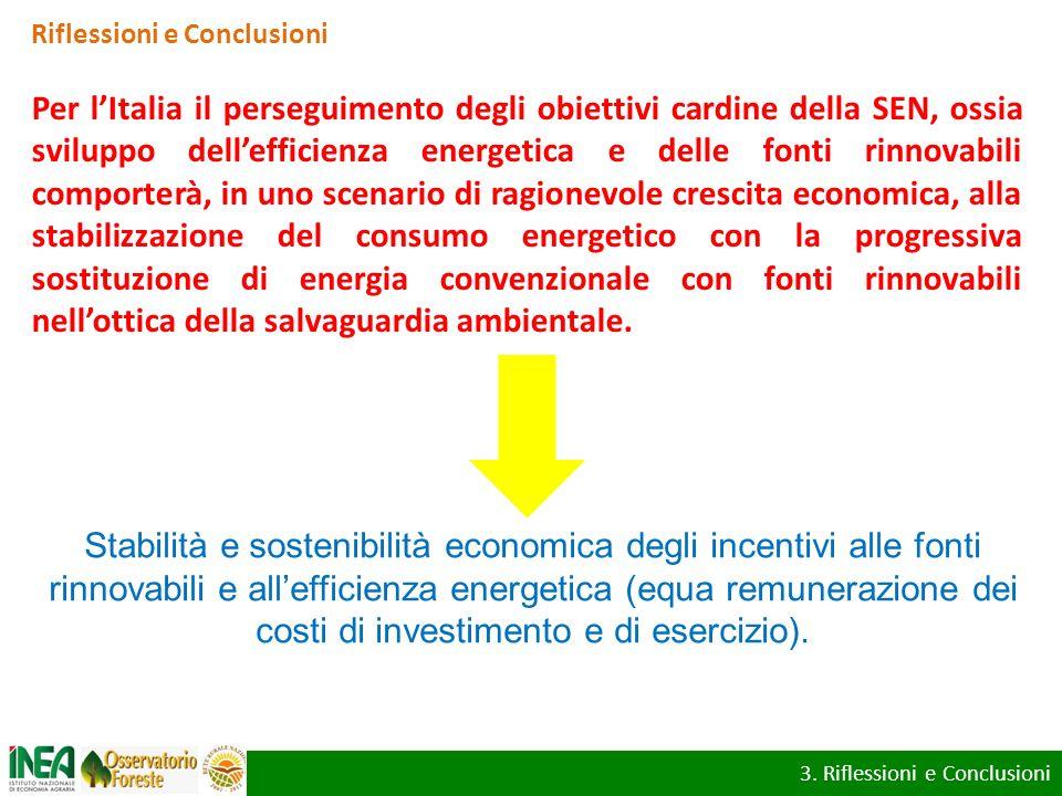 Riflessioni e Conclusioni Per lItalia il perseguimento degli obiettivi cardine della SEN, ossia sviluppo dellefficienza energetica e delle fonti rinno