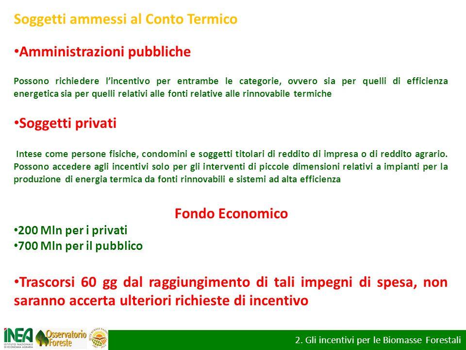 2. Gli incentivi per le Biomasse Forestali: il conto termico per gli utenti privati