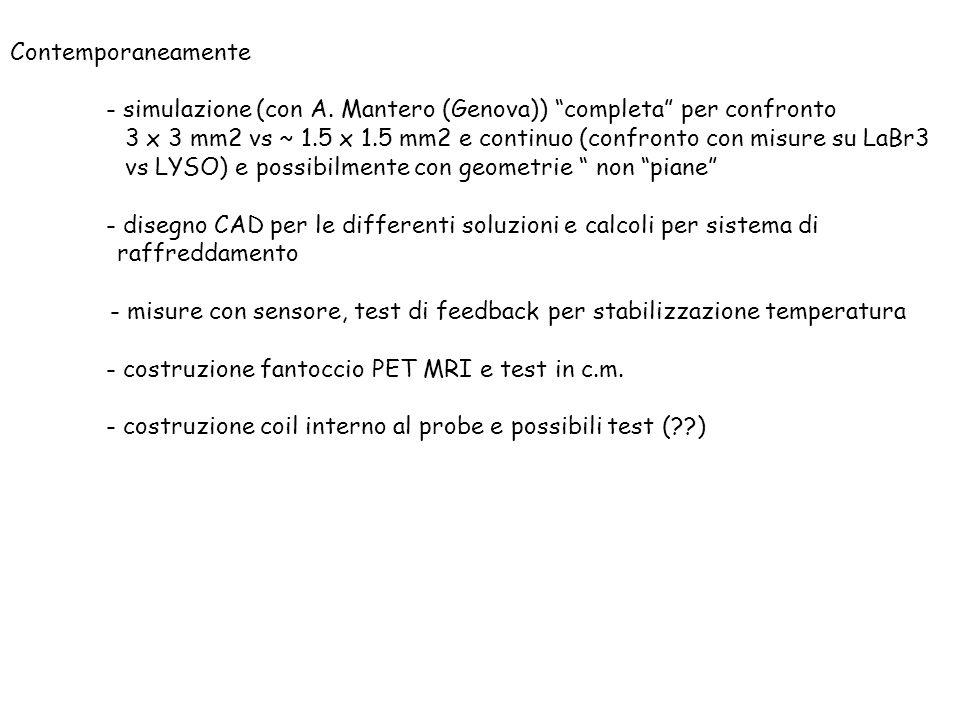 Contemporaneamente - simulazione (con A. Mantero (Genova)) completa per confronto 3 x 3 mm2 vs ~ 1.5 x 1.5 mm2 e continuo (confronto con misure su LaB