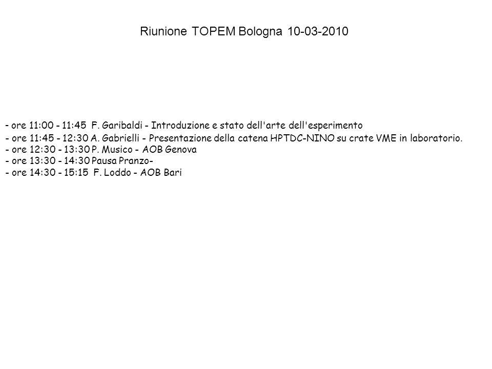 - ore 11:00 - 11:45 F. Garibaldi - Introduzione e stato dell'arte dell'esperimento - ore 11:45 - 12:30 A. Gabrielli - Presentazione della catena HPTDC