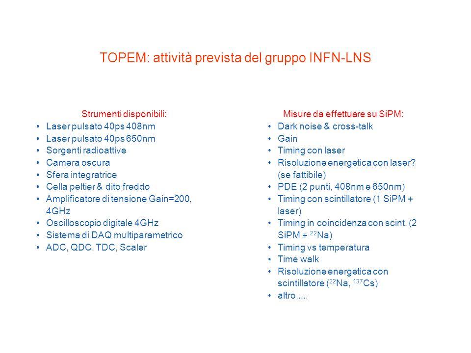 TOPEM: attività prevista del gruppo INFN-LNS Strumenti disponibili: Laser pulsato 40ps 408nm Laser pulsato 40ps 650nm Sorgenti radioattive Camera oscu