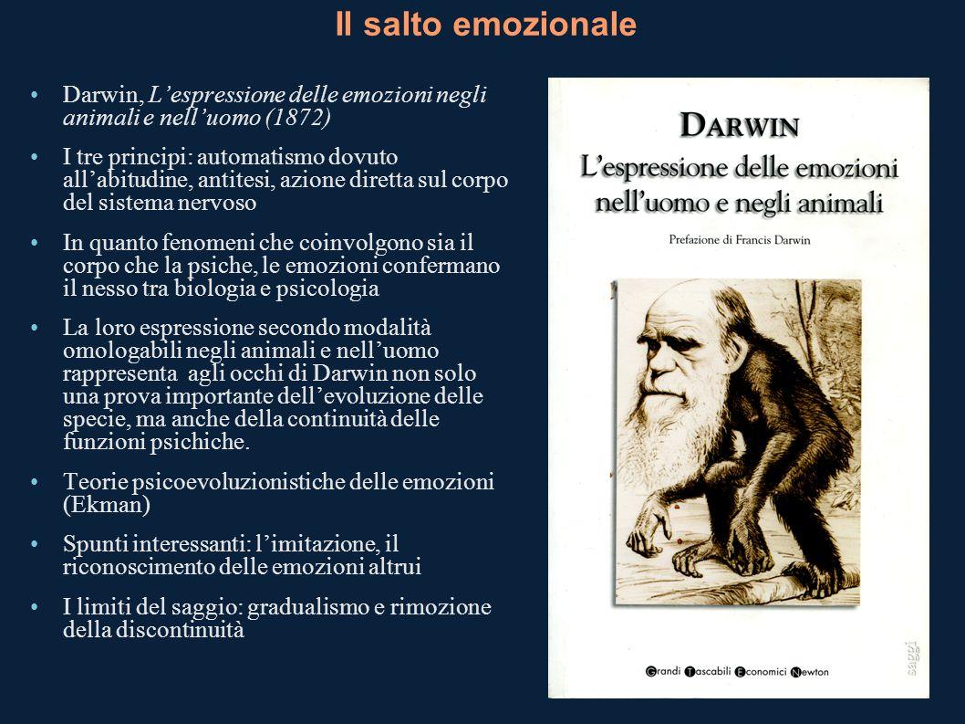 Il salto emozionale Darwin, Lespressione delle emozioni negli animali e nelluomo (1872) I tre principi: automatismo dovuto allabitudine, antitesi, azi