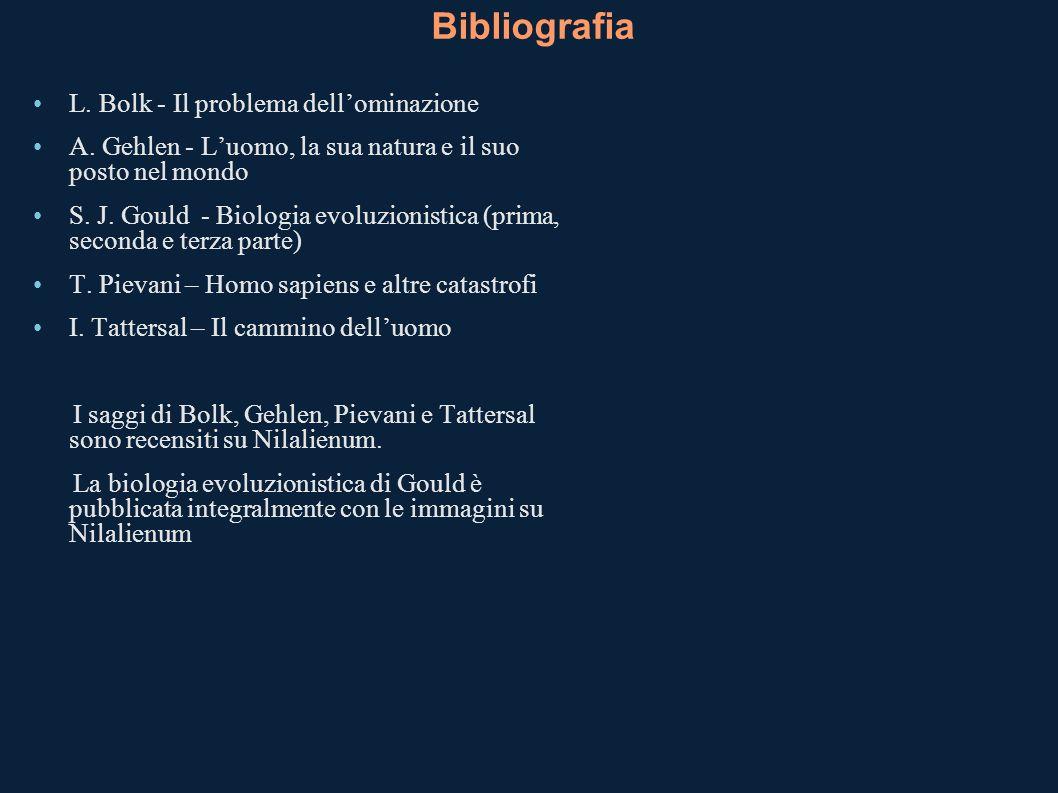Bibliografia L. Bolk - Il problema dellominazione A. Gehlen - Luomo, la sua natura e il suo posto nel mondo S. J. Gould - Biologia evoluzionistica (pr